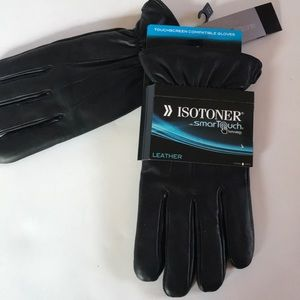 NEW$80 ISOTONER LEATHER Smart Touch Gloves L